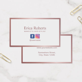 Minimalist Rose Gold Frame Social Media Business Card