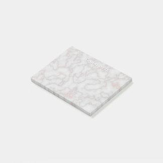Minimalist Rose Gold Marble | Monogram Name Post-it Notes