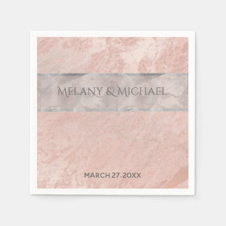 Minimalist rose gold marble watercolor stripe paper napkins