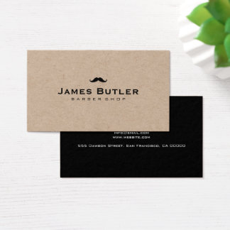 Minimalist Rustic Kraft Barber Shop Moustache Business Card