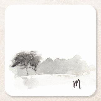 Minimalist scenery square paper coaster