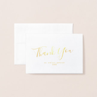 Minimalist Script Gold Foil Mini Wedding Thank You Foil Card