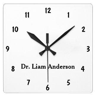 Minimalist Script Plain Personalized 3d Monogram Square Wall Clock