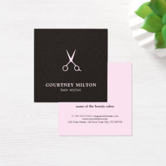 Minimalist Simple Black Pale Pink Hair Stylist Square Business Card