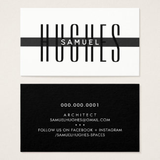 MINIMALIST simple masculine name black white mono Business Card
