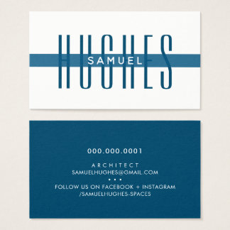 MINIMALIST simple masculine name dark navy blue Business Card