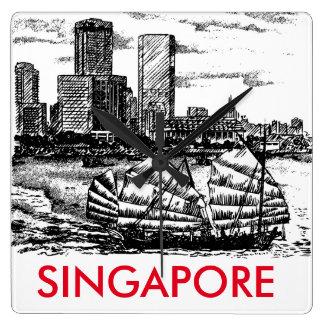 Minimalist Singapore Scenery Clock