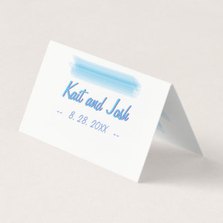 Minimalist Soft Ambiance Blue Watercolor Seating Place Card