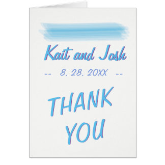 Minimalist Soft Ambiance Blue Watercolor Thank You Card