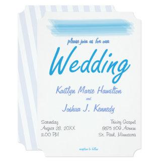 Minimalist Soft Ambiance Blue Watercolor Wedding Card