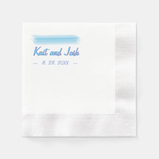 Minimalist Soft Ambiance Blue Watercolor Wedding Paper Napkin