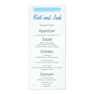 Minimalist Soft  Blue Watercolor Reception Menu Card