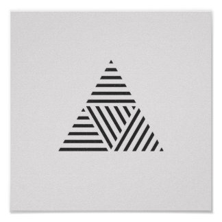 Minimalist Striped Triangle Black and White Poster