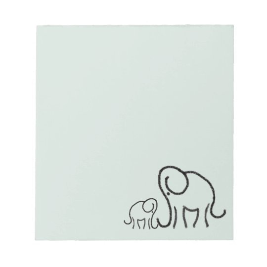 Minimalist Stylised Cute Elephants Mum and Baby Notepad