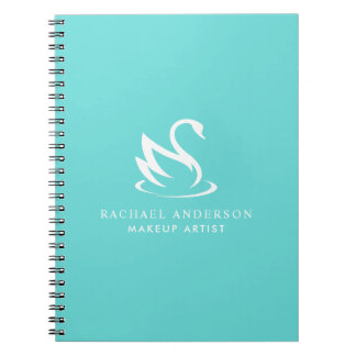 Minimalist Swan Logo on Robin Egg Blue Notebook