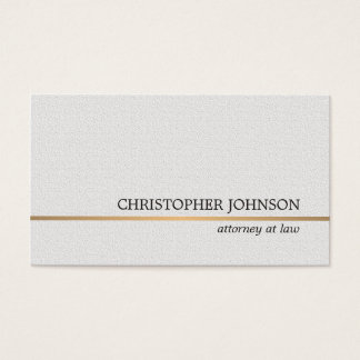 Minimalist Texture White Faux Gold Line Attorney Business Card
