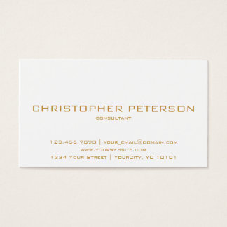 Minimalist Textured Inverse Ochre White Consultant Business Card