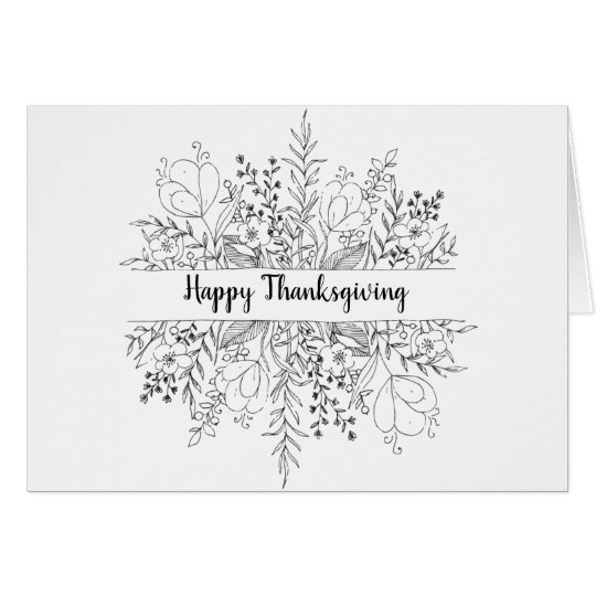 Minimalist Thanksgiving Card | Autumn Flora Design