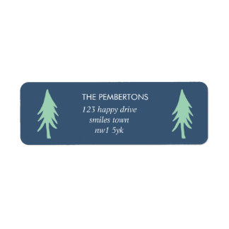 Minimalist Tree Holiday Stamp Return Address Label
