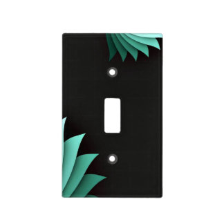 Minimalist Turquoise Floral Light Switch Cover