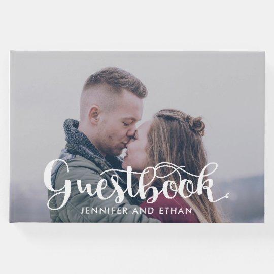 Minimalist Typography Photo Wedding Guestbook