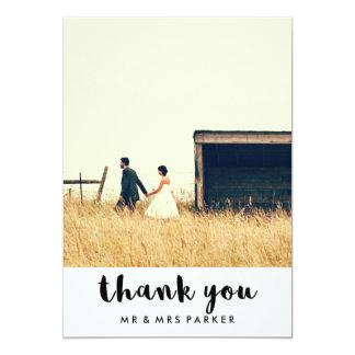 Minimalist Typography Wedding Photo Thank You Card