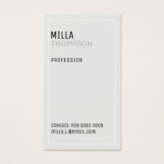 minimalist vertical very pale gray business card