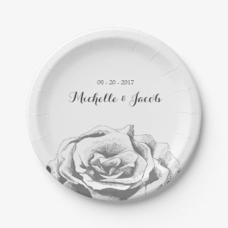 Minimalist Vintage Rose Wedding Paper Plate