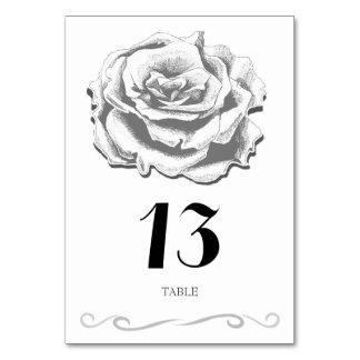 Minimalist Vintage Rose Wedding Table Card