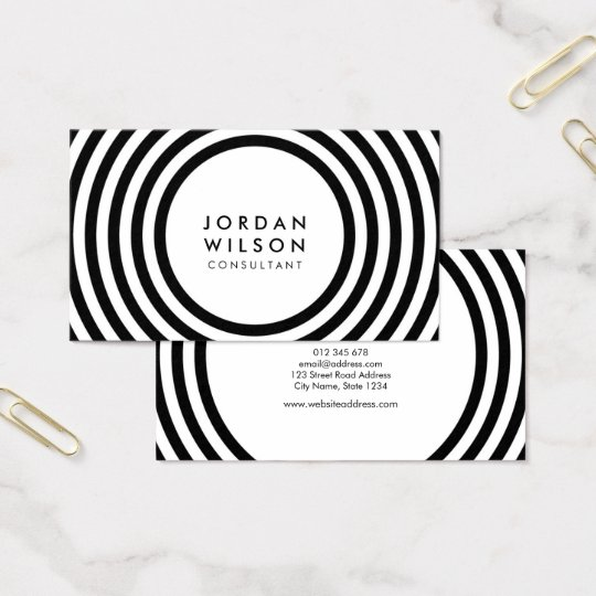 Minimalist White and Black Round Lines Geometric Business Card