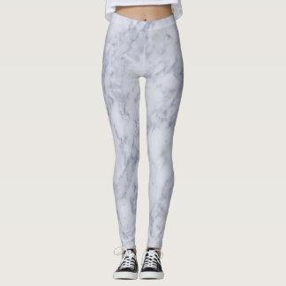 Minimalist White and Gray Marble Leggings