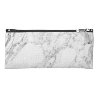 Minimalist White and Gray Marble Pencil Case