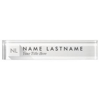 Minimalist White Elegant Monogram Desk Nameplate