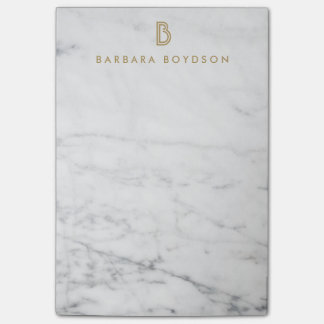 Minimalist White Marble Gold Monogram Post-it Notes