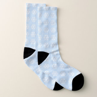 Minimalist White Snowflake Pattern Socks