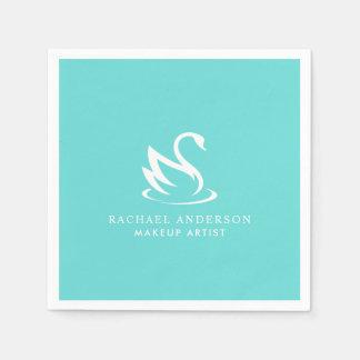 Minimalist White Swan Logo on Robin Egg Blue Paper Napkin