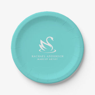 Minimalist White Swan Logo on Robin Egg Blue Paper Plate