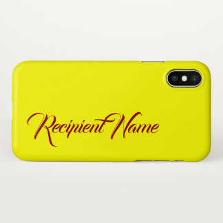 Minimalist Yellow Background w/ Dark Red Name iPhone X Case