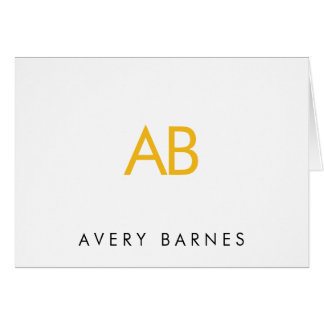 Minimalist Yellow Monogram Modern White Card