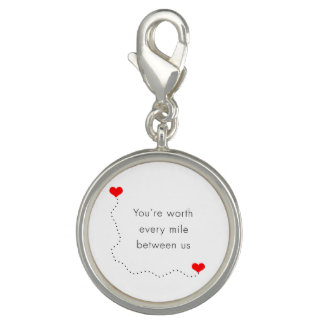 "minimalist ""you're worth every mile between us"" photo charms"