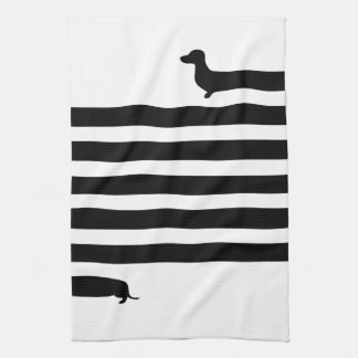 Minimalistic Dachshund silhouette - black on white Kitchen Towel