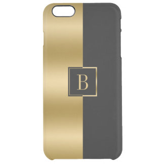 Minimalistic Gold & Black Geometric Design Clear iPhone 6 Plus Case