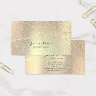 Minimalistic Golden Rose Gold Leaf Blush Champaign Business Card