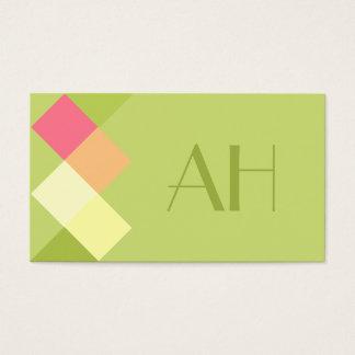Minimalistic Green Squares & Monogram Business Card