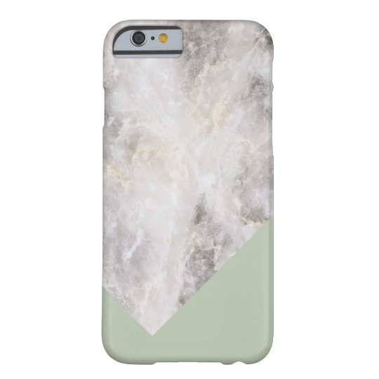 Minimalistic Marble w\ Color Block Olive Green Barely There iPhone 6 Case