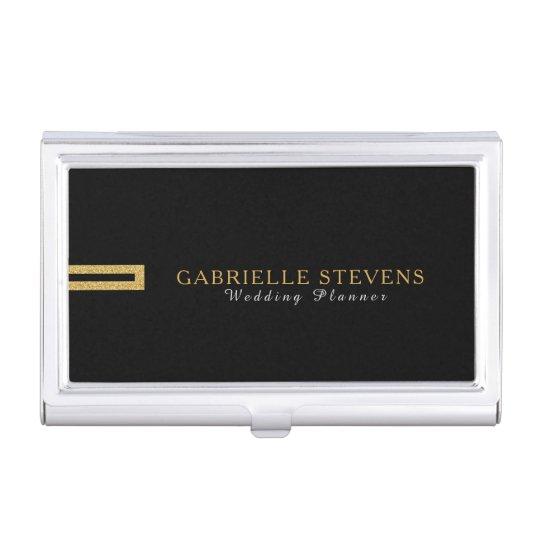 Minimalistic Modern Black & Gold Geometric Glitter Case For Business Cards