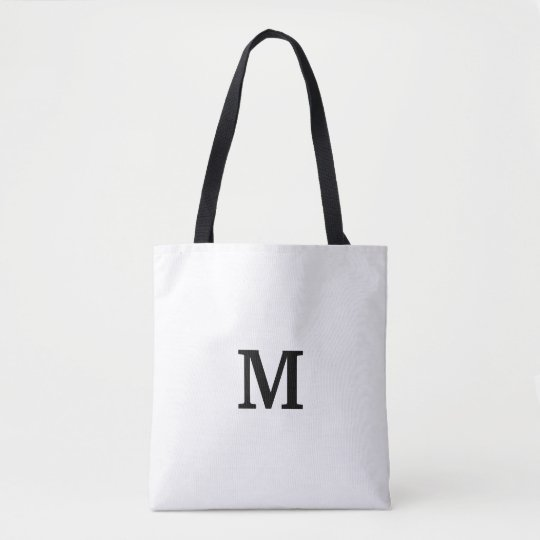Minimalistic Monogram Black and White Tote Bags