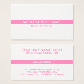 Minimalistic Pink Thin Stripe On White Business Card