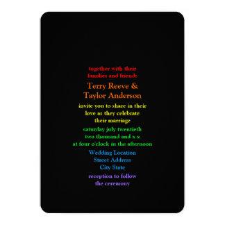 "Minimalistic Rainbow-Colored Font Wedding 5"" X 7"" Invitation Card"