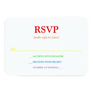 "Minimalistic Rainbow-Colored Font Wedding RSVP 3.5"" X 5"" Invitation Card"